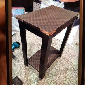 Custom made repurposed from bags end table.